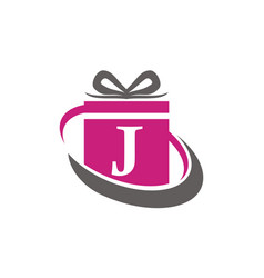 Gift box ribbon letter j vector