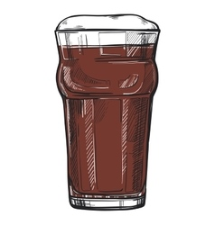 Glass of beer freehand pencil drawing vector image