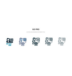 Go pro icon in different style two colored and vector