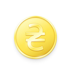 Gold coin with hryvnia sign vector