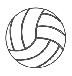 grayscale contour with volleyball ball vector image