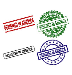 grunge textured designed in america seal stamps vector image