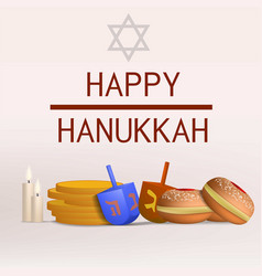 happy hanukkah concept background realistic style vector image