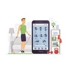 Home fitness - modern cartoon character vector