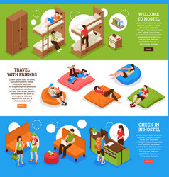 Hostel horizontal isometric banners vector