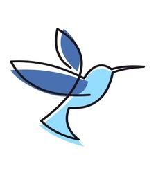 Hovering blue hummingbird vector