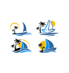 Inspiration logo a boat with palm vector