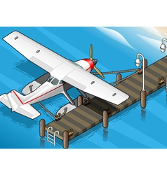 Isometric Seaplane Moored at the Pier in Rear View vector