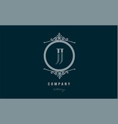 Jj j j blue decorative monogram alphabet letter vector