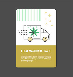 legal marijuana trade vertical banner with line vector image