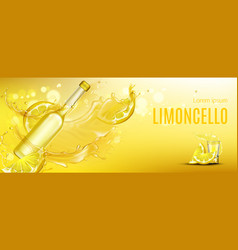Limoncello bottle and shot glass mock up drink vector