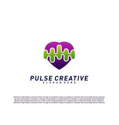love medical pulse logo design concepthealthcare vector image