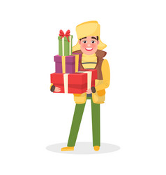 man in warm winter cloth with christmas presents vector image