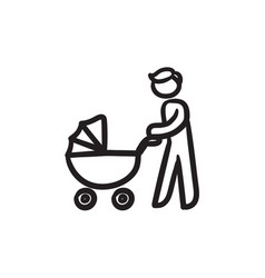 man walking with baby stroller sketch icon vector image