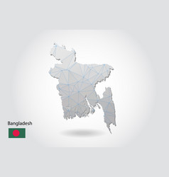 Map bangladesh with trendy triangles design in vector