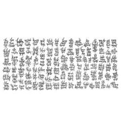 Mega set of 100 black and white hand lettering vector