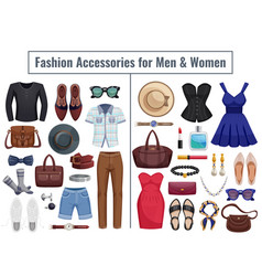 Men and women accessories icon set vector