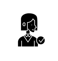 Mentor black icon sign on isolated vector