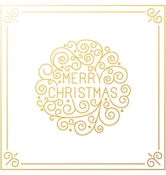 merry christmas hand lettering in outline style vector image