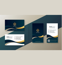 Modern elegant golden wave business card vector