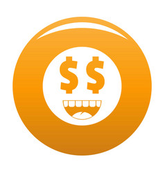 money smile icon orange vector image