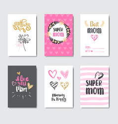 mothers day cute greeting cards collection with vector image