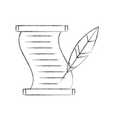 museum papyrus with feather vector image