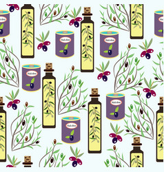 olives olive oil cans jars olive tree branches vector image