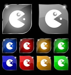 pac man icon sign Set of ten colorful buttons with vector image