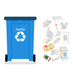 paper recycling garbage can trash isolated flat vector image