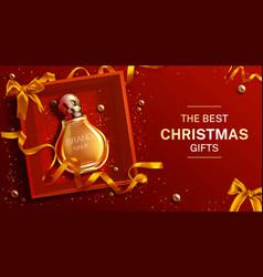 Perfume bottle christmas gift banner mock up vector