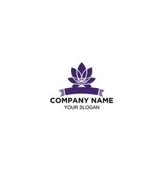Purple lotus flower logo design vector