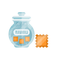 Ravioli dry pasta in a transparent glass container vector