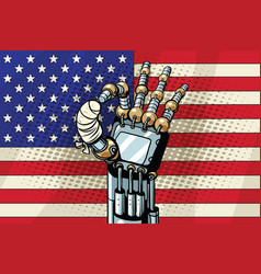 robot ok gesture the us flag broken bandaged vector image