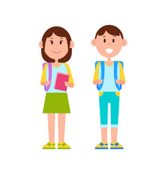 schoolboy and schoolgirl color vector image