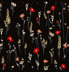 Seamless pattern wind blow flowers isolated on vector