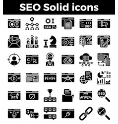 Seo search engine optimization solid icons vector