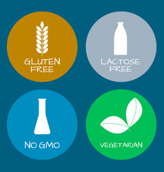 Set food labels - allergens gmo free products vector