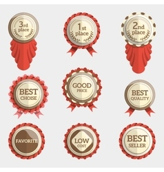 set of flat badges with text and ribbons badge vector image