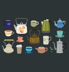 Set teapots and cups vector