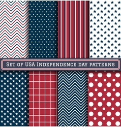 Set usa independence day patterns vector