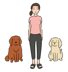 set woman and dogs vector image