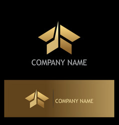 shape abstract arrow building gold logo vector image