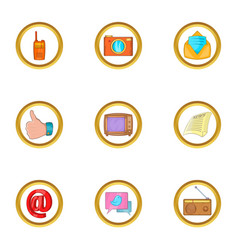 social icon set cartoon style vector image