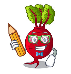 student with book character organic beetroot in vector image