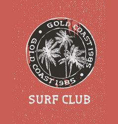 surf club surfer stamp with hand drawn palm trees vector image