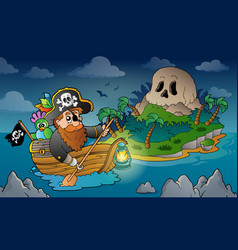 Theme with pirate skull island 3 vector