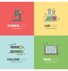 Thin lined set of logos for scientific research vector image