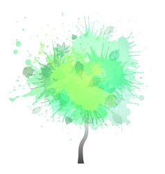 tree with green watercolor splashes creative vect vector image