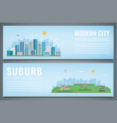Two banners with city landscape and suburban vector
